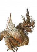 Hade Of Golden Dragon Statue On White Blackground.