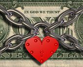 foto of greed  - 3D picture of heart lock and money - JPG