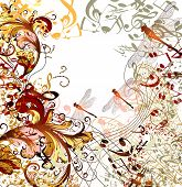 Creative Music Background With Floral Ornament