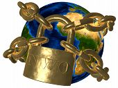 picture of illuminati  - 3D picture of world bound in golden chain - JPG