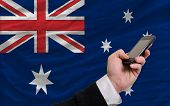 Cell Phone In Front  National Flag Of Australia