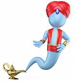 image of genie  - 3d white genie out of the lamp - JPG