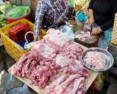 Meat At Food Market In Vietnam