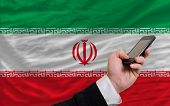 Cell Phone In Front  National Flag Of Iran