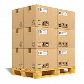 stock photo of pallet  - Cargo delivery and transportation industry concept - JPG