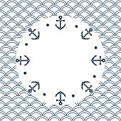 Navy blue and white roud frame with anchors on a scalloped background, vector