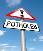 Potholes Warning Sign.