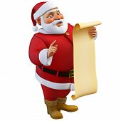 3D Cartoon Santa Holding A Roll