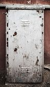 Old Metal Door Texture With Gray Cracked Painting