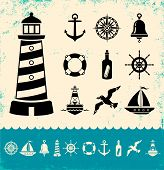 stock photo of wind wheel  - Illustration of set marine icons on old background vector art - JPG