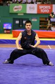 KUALA LUMPUR - NOV 03: Cedric Chung of Australia shows his fighting style in the 'nan quan compulsory' event at the 12th World Wushu Championship on November 03, 2013 in Kuala Lumpur, Malaysia.