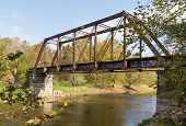 picture of trestle bridge  - This old unused railroad trestle crosses the Valley River in North Carolina - JPG