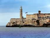 Lighthouse in Morro Castle fortress guarding the entrance to Havana bay a symbol of Havana Cuba