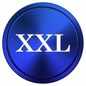 foto of xxl  - Metallic XXL icon with white design on blue background - JPG
