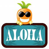 Isolated Pineapple with Aloha Sign