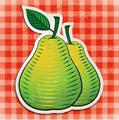 vector vintage pears sticker