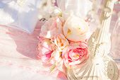 bright luxury wedding flowers background