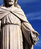 Statute of Jesus with His hand outstretched towards us all