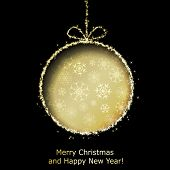 Abstract Xmas greeting card with golden Christmas ball cutted from black paper background. Vector ep