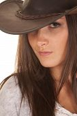 Woman Western Hat Close See One Eye