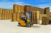 image of wooden pallet  - Forklift operator in pallet warehouse on the open - JPG