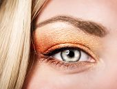 Beautiful autumnal makeup, female face part, stylish golden eyeshadow, fashionable look, beauty conc