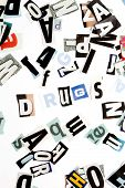 Drugs inscription made with cut out letters