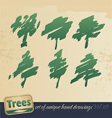 Trees -hand drawing set
