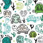 Seamless sea life turtle illustration doodle background pattern in vector