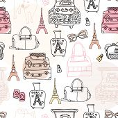 Seamless Paris travel bags and luggage hand drawn illustration background pattern in vector