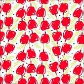 bright background seamless pattern with red candy apples