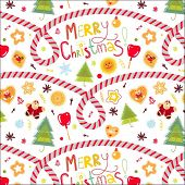 background with seamless vector christmas pattern with candy sticks, santa, tree and cookies