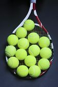 Tennis Balls On Racquet Strings