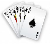 stock photo of flush  - Royal straight flush playing cards poker hand in spades - JPG