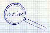 Magnifying Glass Focusing On Quality
