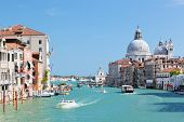 Venice, Italy. Grand Canal and Basilica Santa Maria della Salute at sunny day. View from Ponte dell