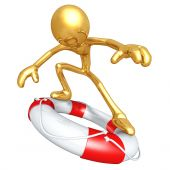 3D Character Surfing On Lifebuoy