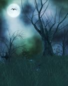 stock photo of stomp  - Spook haunted halloween background with tombstones dead trees moon and crow - JPG