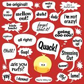 Various phrases in comic balloons and duck vector