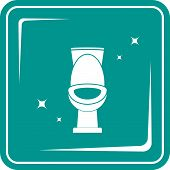 blue icon with shiny white toilet