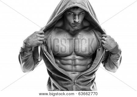 Strong Athletic Man Fitness Model Torso Showing Six Pack Abs. Isolated On White Background poster
