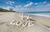 two starfish with love message on Florida beach  under the sun light, shallow dof