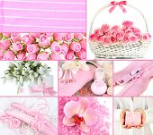 Collage of photos in light pink colors