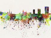 Zurich Skyline In Watercolor Background