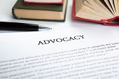 picture of glossary  - document with the title of advocacy closeup