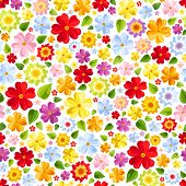 Seamless background with colorful flowers. Vector illustration.