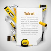 pic of pliers  - Realistic carpenter tools background frame with hammer - JPG