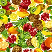 image of passion fruit  - Seamless organic sliced tropical fruits background with lemon mango orange pineapple pomegranate vector illustration - JPG