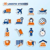 pic of fragile sign  - Logistic package transportation global urgent delivery stickers set vector illustration - JPG