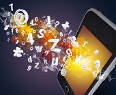 Smart phone emits letters, numbers and smoke